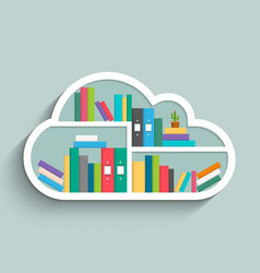 Bookshelf in form of cloud with colorful books vector