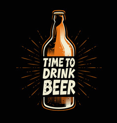bottle beer retro poster for pub or restaurant vector image