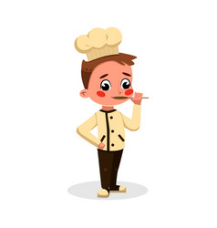 Boy professional chef character trying food with vector