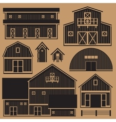 Buildings set with farm - monochrome vector image