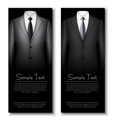 business cards with grey and black elegant suits vector image