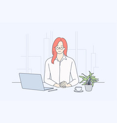 Business woman manager in office concept vector