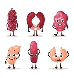 Cartoon meat characters with smiley faces vector