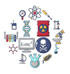 chemistry laboratory icons set cartoon style vector image