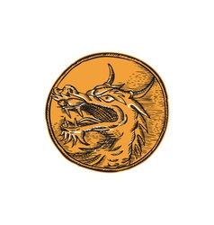 Chinese Dragon Head Circle Etching vector image