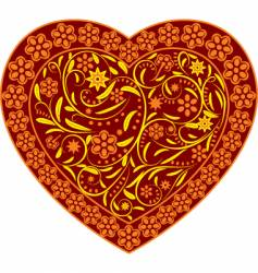 claret heart with ornament vector image