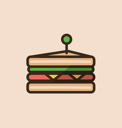 Classical sandwich with meat cheese and green vector