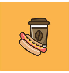 Coffee drink cup and hot dog vector