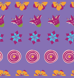 colorful abstract summer flowers on a purple vector image