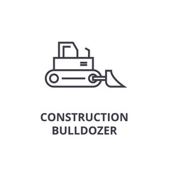 construction bulldozer line icon sign vector image