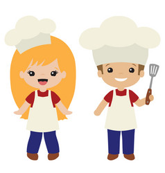 Cookout grill cooks boy and girl vector