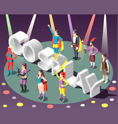 cosplay isometric composition vector image