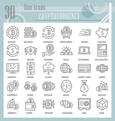 cryptoccurency line icon set bitcoin symbols vector image