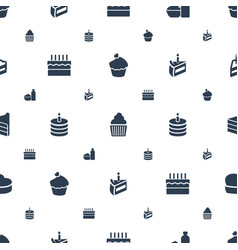 cupcake icons pattern seamless white background vector image