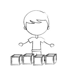 Cute boy with blocks character icon vector