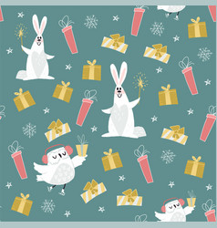 cute christmas green pattern vector image