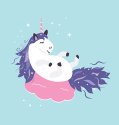 Cute dreaming unicorn vector