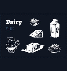 Dairy products set sketches vector