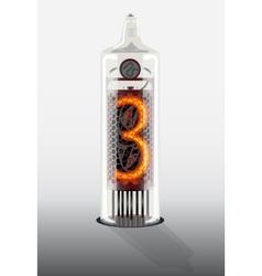 Digit 3 on vintage vacuum tube display vector