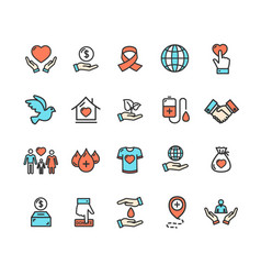 donation signs color thin line icon set vector image