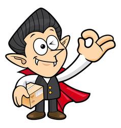 Dracula character is a box and okay gesture vector