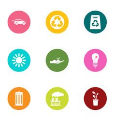 eco procedure icons set flat style vector image