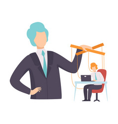 Employee office worker marionette on ropes vector