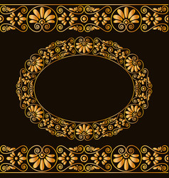 Empty round frame and borders greek traditional vector