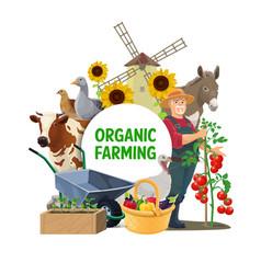 farmer farm animals and garden vegetables vector image