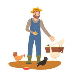 Farmer feeding chickens and geese on farm vector
