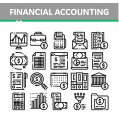 Financial accounting collection icons set vector
