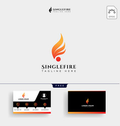 fire ball logo template and business card vector image