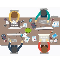 Flat design style of business meeting office work vector image