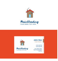 flat home logo and visiting card template vector image