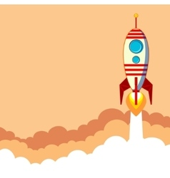 Flat rocket icon Startup concept vector