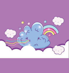 fluffy cloud sick with cute rainbow vector image