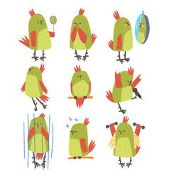 funny bird cartoon character in different vector image