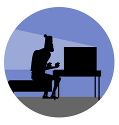 funny cartoon character silhouette of bearded vector image