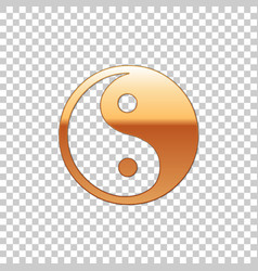 golden yin yang symbol of harmony and balance vector image