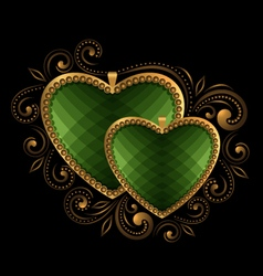 Green faceted hearts vector