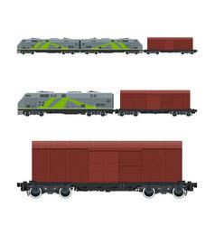 green locomotive with closed wagon on platform vector image