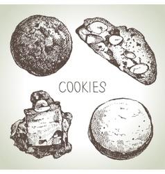 Hand drawn sketch sweet cookies set vector image