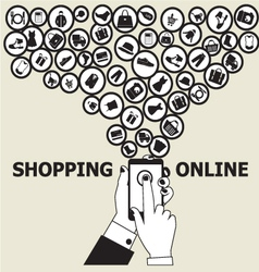 hands mobile Online Shopping vector image
