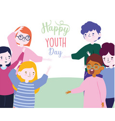 Happy youth day cartoon character men and women vector