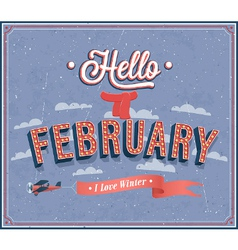 Hello february typographic design vector