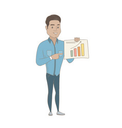 Hispanic businessman showing financial chart vector