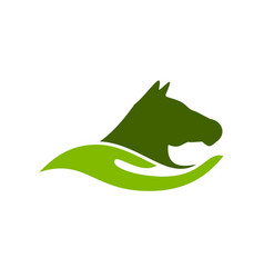 Horse care farm ranch abstract hand shape symbol vector