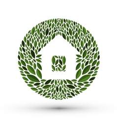 House and nature Logo icon emblem template vector image