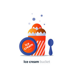 ice cream bucket dessert three scoops tasty flavor vector image