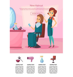 landing page with hairdresser vector image